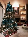 Christmas tree decorated with white lights, colored beaded balls, and ceramic and brass ornaments. In large living room near a fireplace